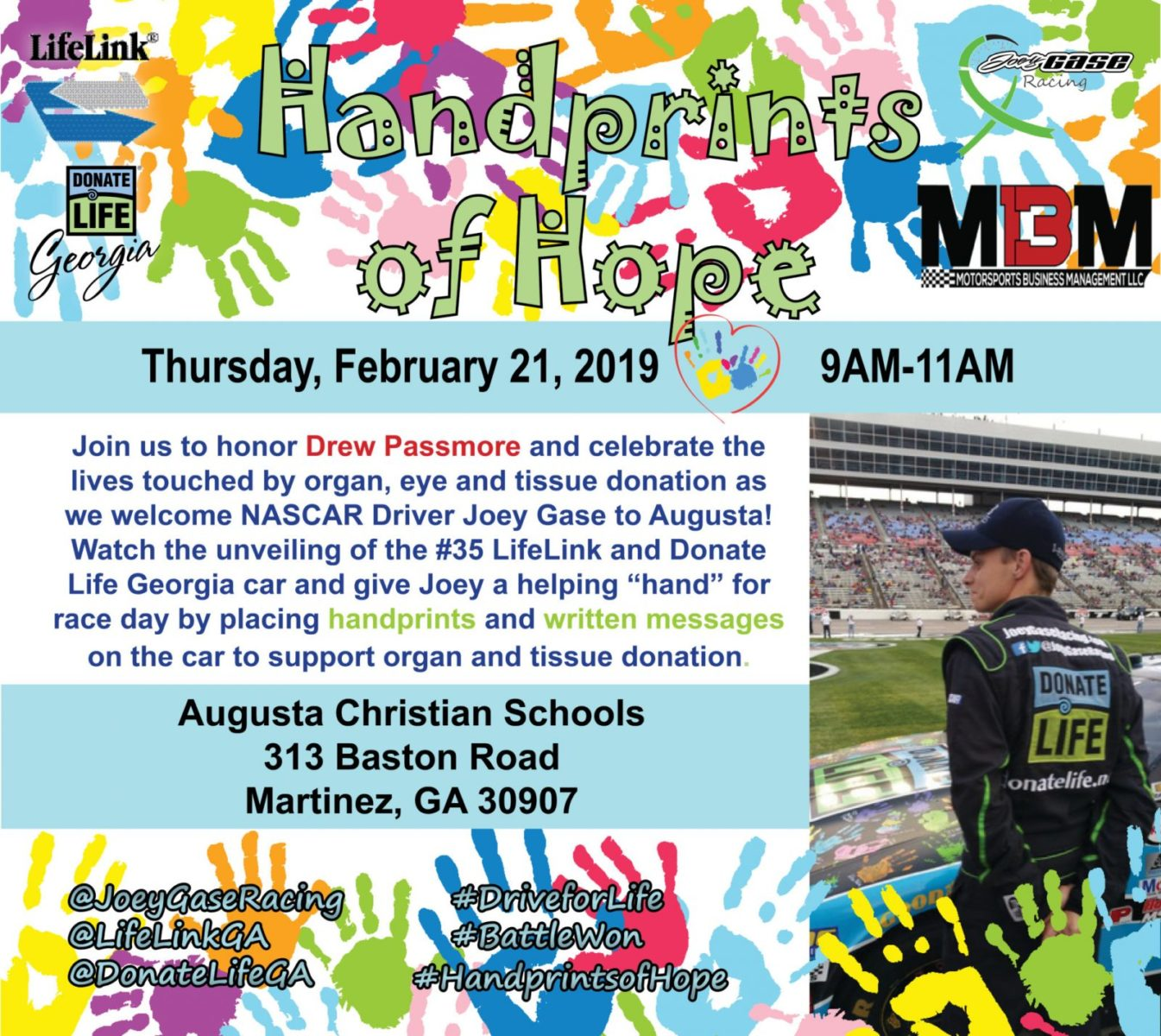 AUGUSTA, GA (February 1, 2019) – Following his mother's death in 2011 of a sudden brain aneurysm, NASCAR driver Joey Gase made the decision to donate her ...